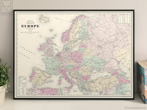 Europe, antique-style map giclee print: Limited edition 4-colour version