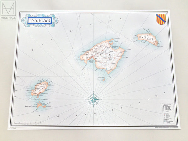 Balearic Islands map giclee print