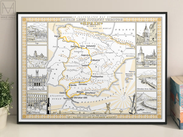 An Illustrated Map of Laurie Lee's Journey Through Spain in 1935-36 - decorative giclee print