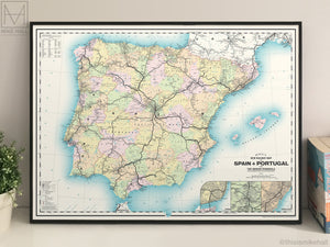 Spain & Portugal railway map giclee print