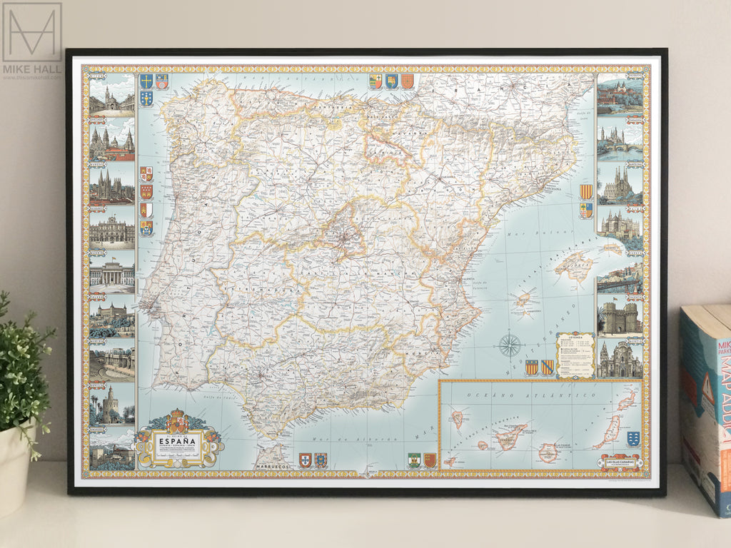 Spain decorative map giclee print – Mike Hall maps ... on western maps of the world, vintage maps of the world, food maps of the world, abstract maps of the world, historical maps of the world, basic maps of the world, paper maps of the world, light maps of the world, cartoon maps of the world, china maps of the world, cute maps of the world, military maps of the world, wall maps of the world, landscape maps of the world, religion maps of the world, nautical maps of the world, country maps of the world, distorted maps of the world, classic maps of the world,