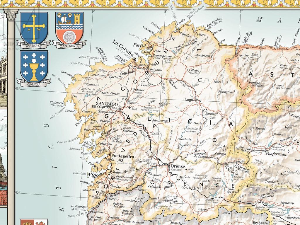 Map Of Spain To Print.Spain Decorative Map Giclee Print