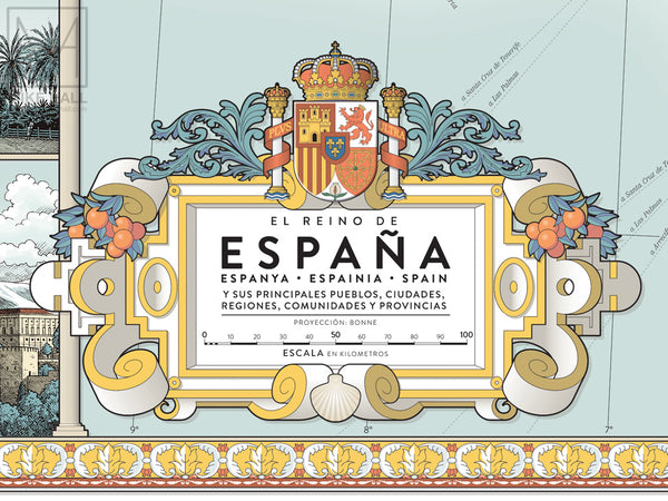 Spain decorative map giclee print