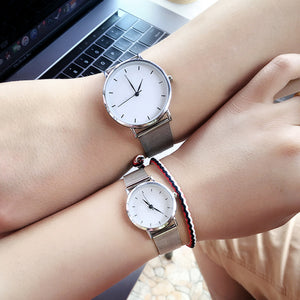 New style women's watches blue pointer stainless steel mesh band