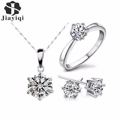 Hot Silver Color Fashion Jewelry Sets Cubic Zircon Statement Necklace & Earrings Rings Wedding Jewelry for Women Gift
