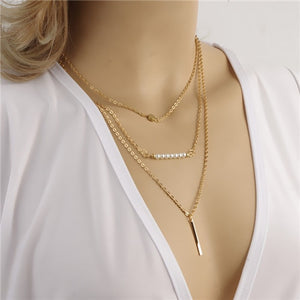 Hot Fashion Gold Color Multilayer Coin Tassels Lariat Bar Necklaces