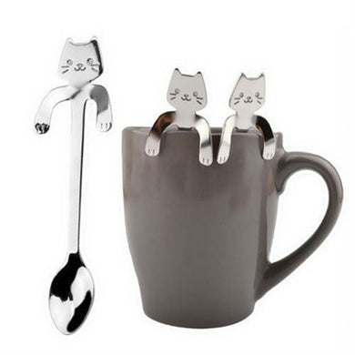 Cutlery 2Pcs Mounchain Cute Cartoon Cat Stainless Steel Handle Hanging Tea Coffee Spoon