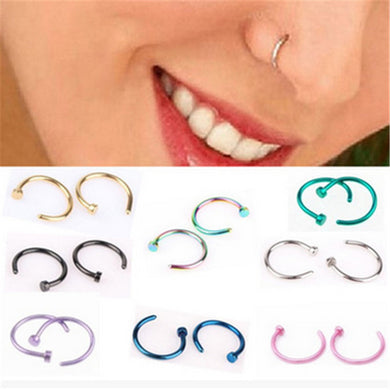 Fake Septum Medical Titanium Nose Ring Silver Gold Body Clip Hoop For Women