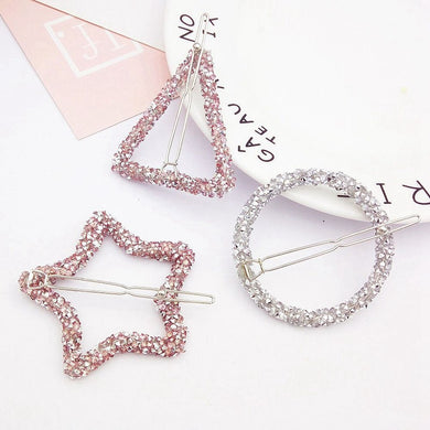 Fashion Crystal Rhinestones Hairpin Star Triangle Round Shape Women Hair Clips