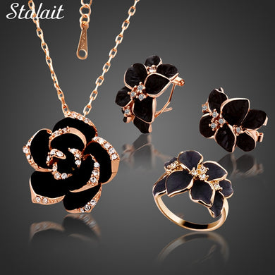 Fashion Rose Flower Enamel Jewelry Set Gold Color Black Painting Bridal Jewelry Sets for women