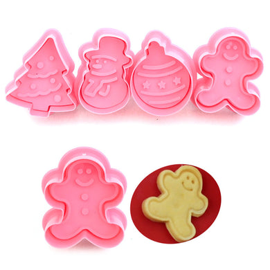 New 4pcs/pack 3D Cookie Stamp Biscuit Mold Cutter DIY Baking Mould