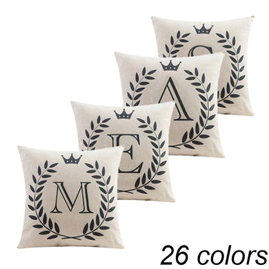 Stylish 26 Letters Pillowcase Classic Crown Monogrammed Cushion Cover