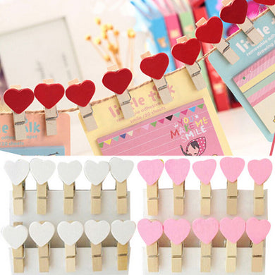 Colorful 20Pcs Mini Heart Love Wooden Clothes Photo Paper Peg Pin Clothespin Craft Postcard Clips