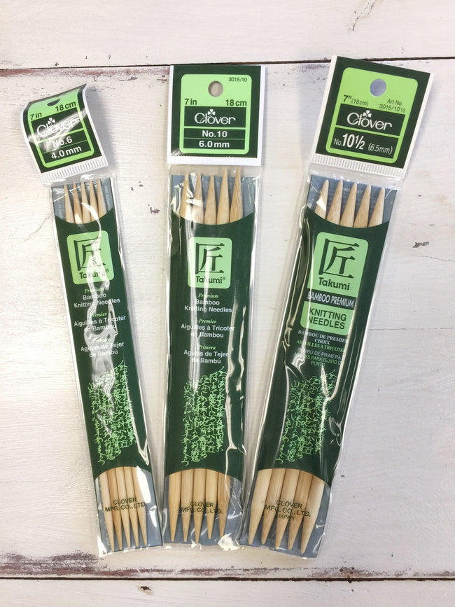 "Clover 7"" Bamboo Double Pointed Knitting Needles"