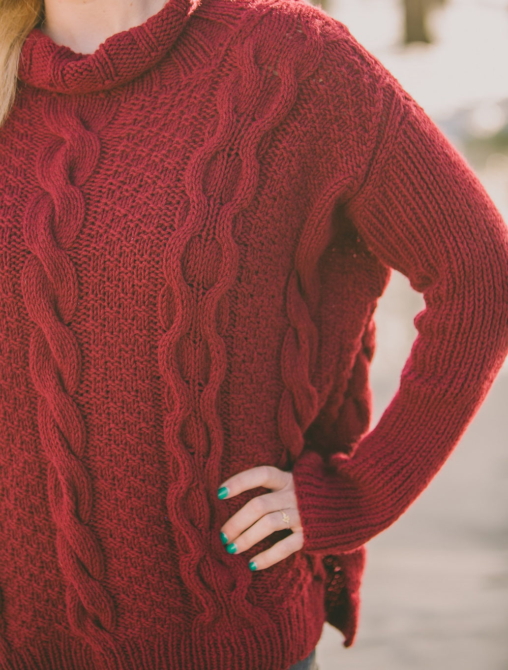 Double Moss Cable Turtle Neck Cashmere Pullover Kit