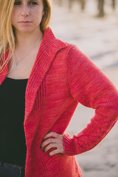 Timeless Ribbed Cable Cuff Cardigan Kit