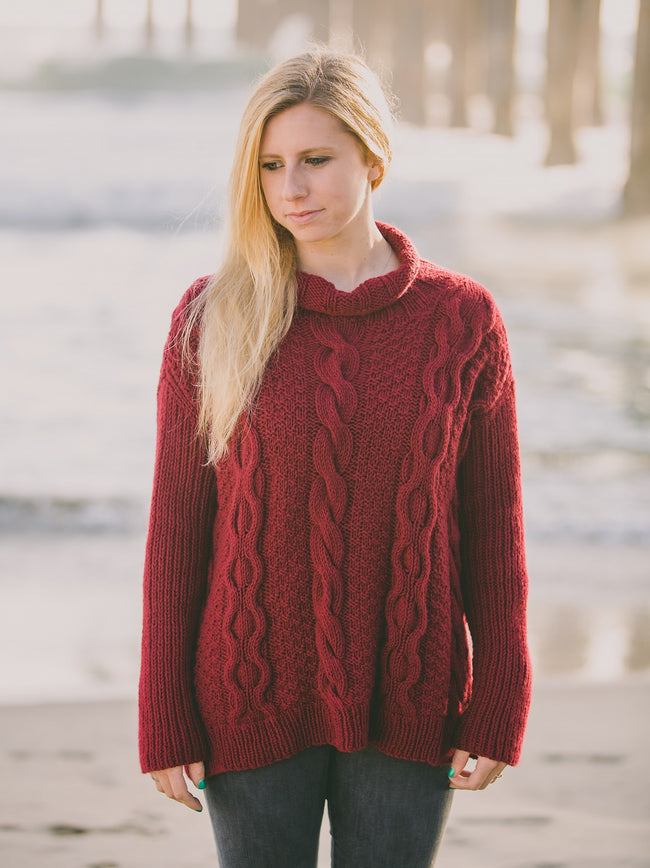 Doube Moss Cable Mock Neck Pullover Pattern