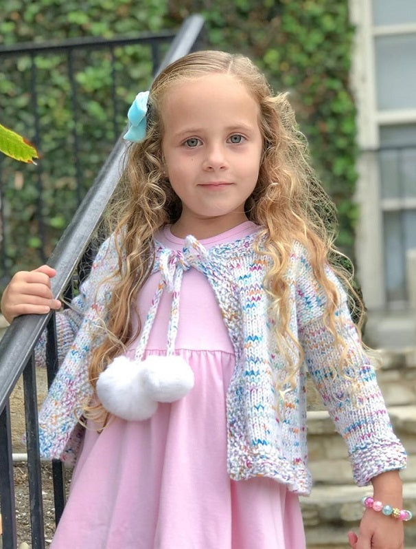 Hand Painted Merino and Cashmere Child's Cardigan Kit