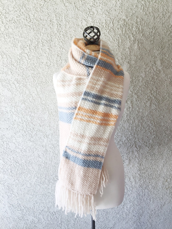 Cashmere Light Striped Seed Stitch Scarf