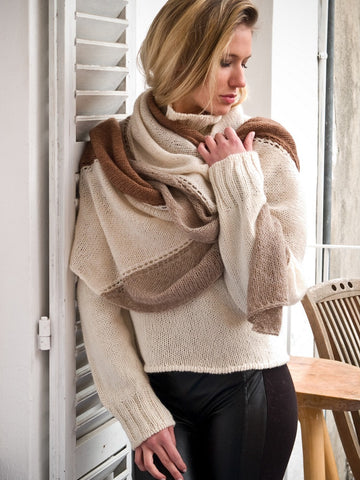 Endless Cables Shawl Cashmere Kit