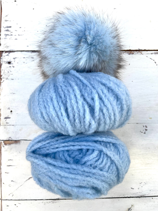 Cashmere Light Hat Kit with Optional Fur Pom Pom