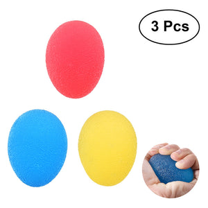Stress Relief Balls 3pcs TPR Finger Exercise Strengthening Hand Therapy Squezze Resistance Egg Ball