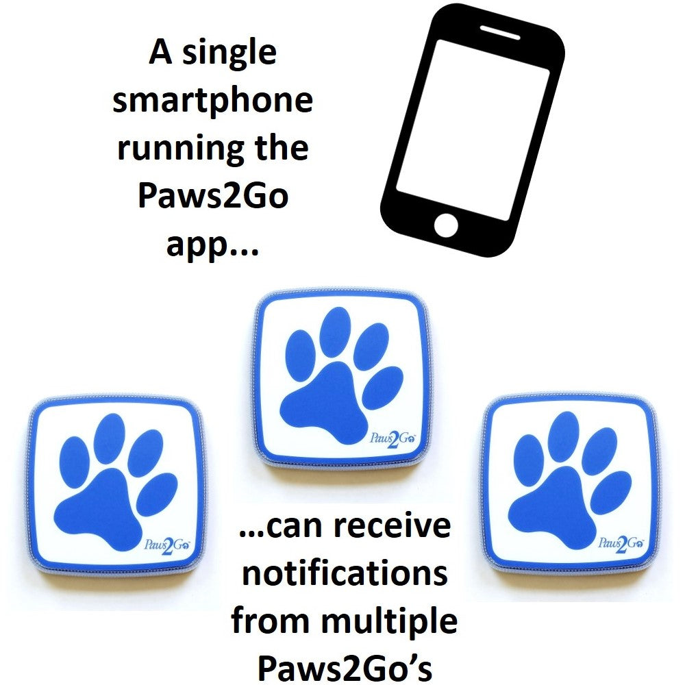Multiple Paws2Go dog doorbells and one smartphone