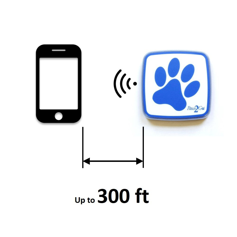 Paws2Go bluetooth distance from mobile device 300 feet
