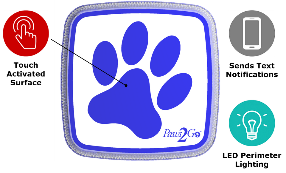 Topside features of the Paws2Go Smart Potty Dog Doorbell