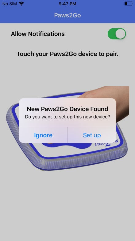New paws2go was found for new setup