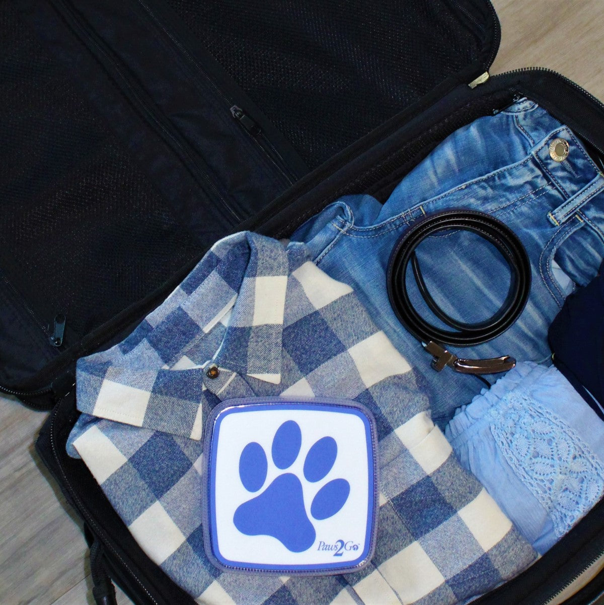Paws2Go in suitcase ready for travel