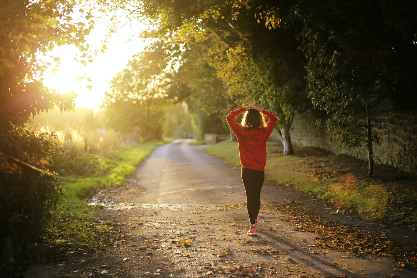 Woman jogging in countryside