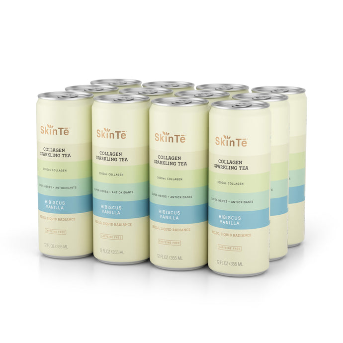 SkinTē Hibiscus Vanilla 12-pack Collagen Sparkling Tea