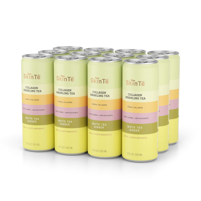 SkinTē White Tea Ginger 12-pack Collagen Sparkling Tea