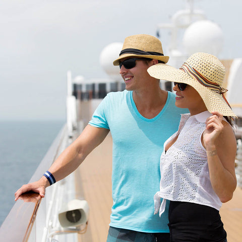 Couple on cruise ship with Blisslets nausea relief bands