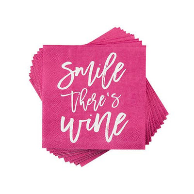 Cocktail Napkin - Smile There's Wine