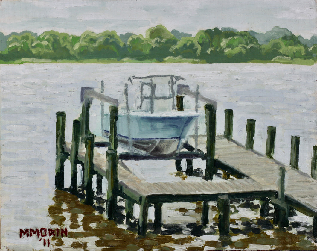 Dock on a Clear Day 8x10 oil on canvas panel - Miles Morin Fine Art