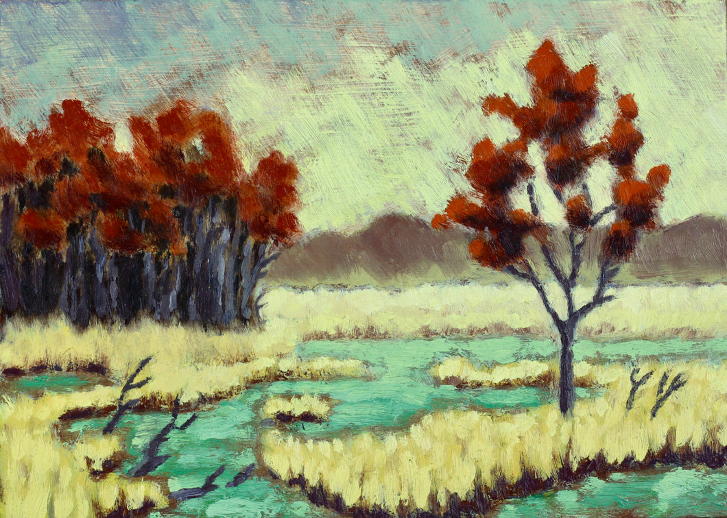 Swamp and Rain 5x7 oil on panel - Miles Morin Fine Art