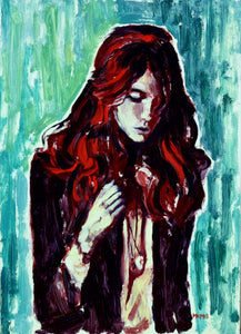 Red Head 5x7 Oil on Panel - Miles Morin Fine Art