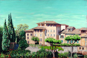 Tuscan Villa 36x24 oil on canvas - Miles Morin Fine Art