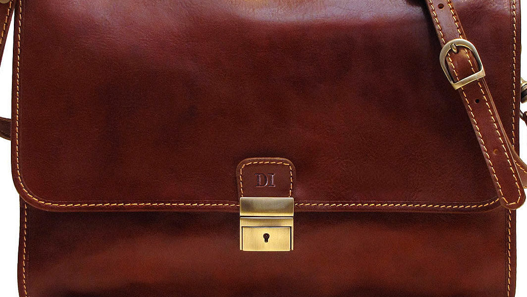 Cenzo Leather Briefcase Monogrammed