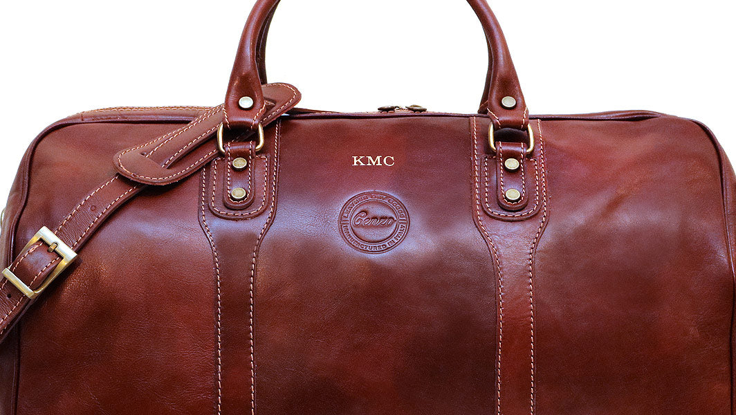 Cenzo Leather Duffle Bag Monogrammed
