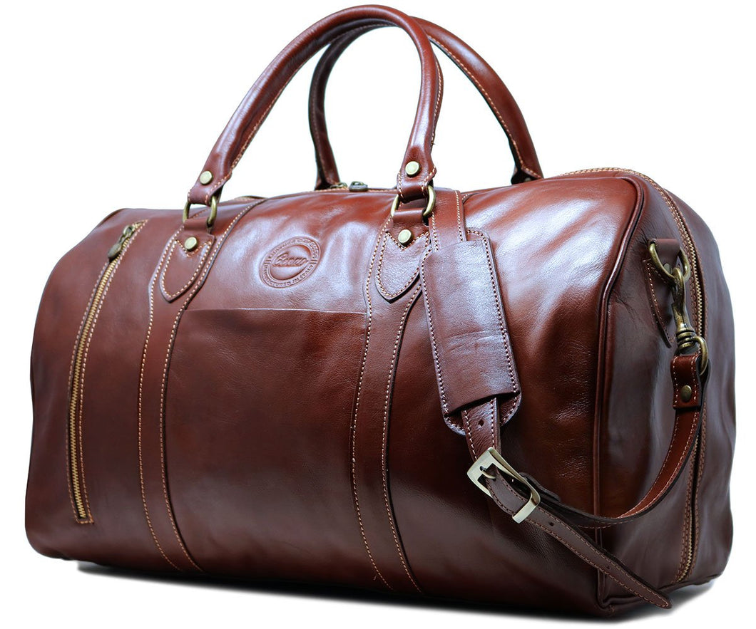 Cenzo Italian Leather Duffle Travel Bag Zipper Pocket 1