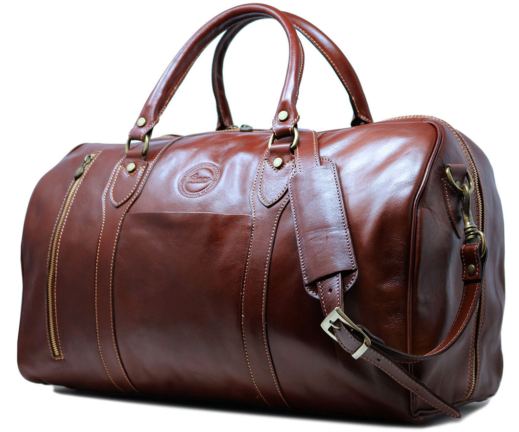 Cenzo Italian Leather Zipper Pocket Duffle Travel Bag 1