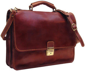 Cenzo Italian Leather Laptop Messenger Bag Briefcase 2