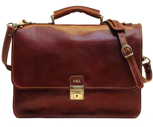 Cenzo Italian Leather Laptop Messenger Bag Briefcase 1