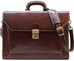 Cenzo Italian Leather 3 Gusset Structured Briefcase Attache