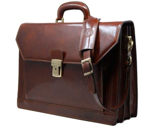 Cenzo Italian Leather 3 Gusset Structured Briefcase Attache 2