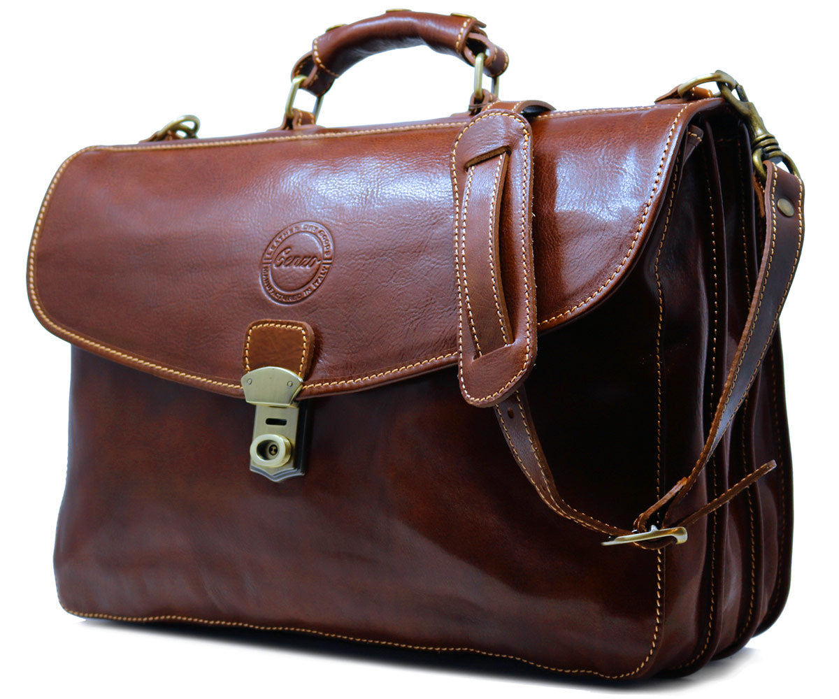 f89504d285 ... Cenzo Italian Leather Briefcase Messenger Bag 2 ...