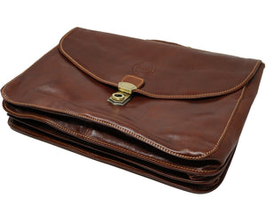 Cenzo Italian Leather Briefcase Messenger Bag 8
